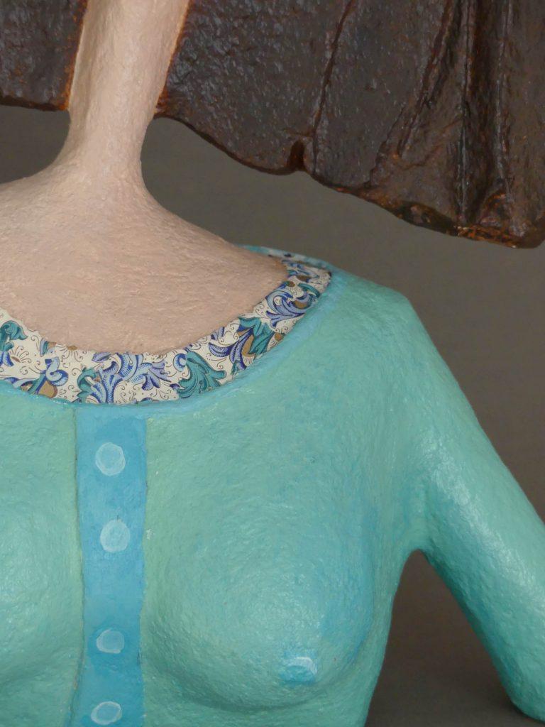 handgefertigte Büste aus Pappmache von Frauke Lorenz